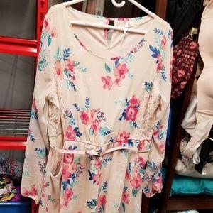 Lauren Conrad pink floral lace belted dress XXL